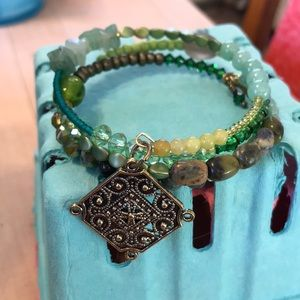 Jewelry - Handmade coil bracelet in shades of green